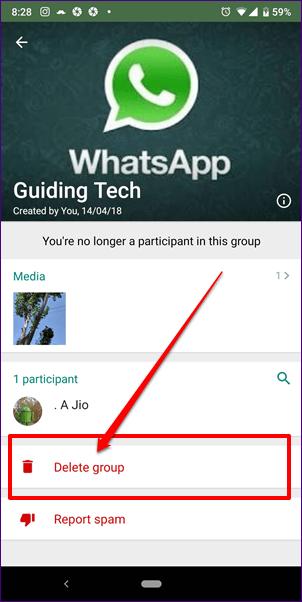 خارج شدن و حذف گروه در واتساپ