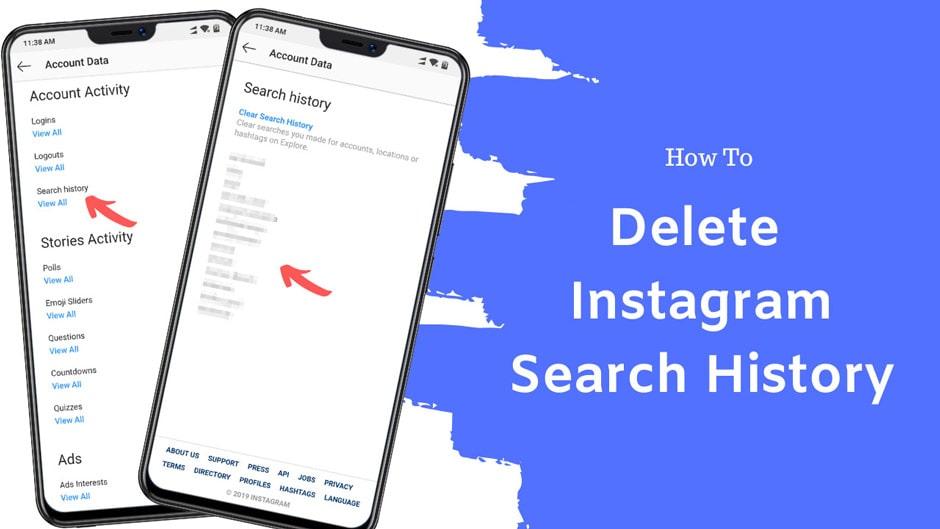 حذف تاریخچه و لیست جستجو در اینستاگرام