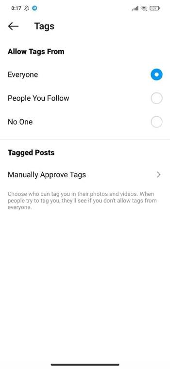آموزش جلوگیری از تگ شدن در پست های اینستاگرام