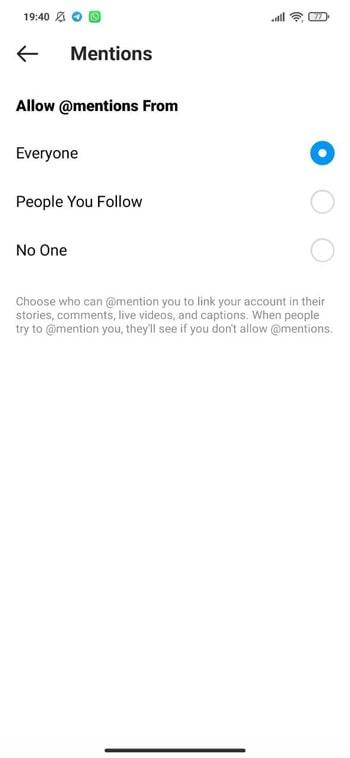 آموزش جلوگیری از منشن شدن در کامنت های اینستاگرام