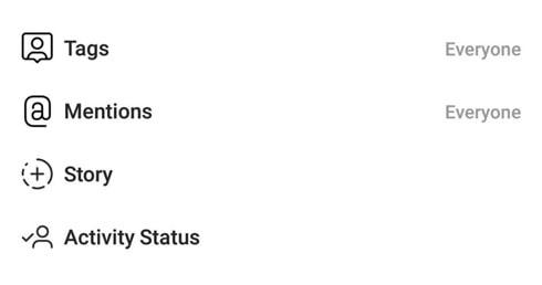 تنظیمات بخش حریم خصوصی اینستاگرام